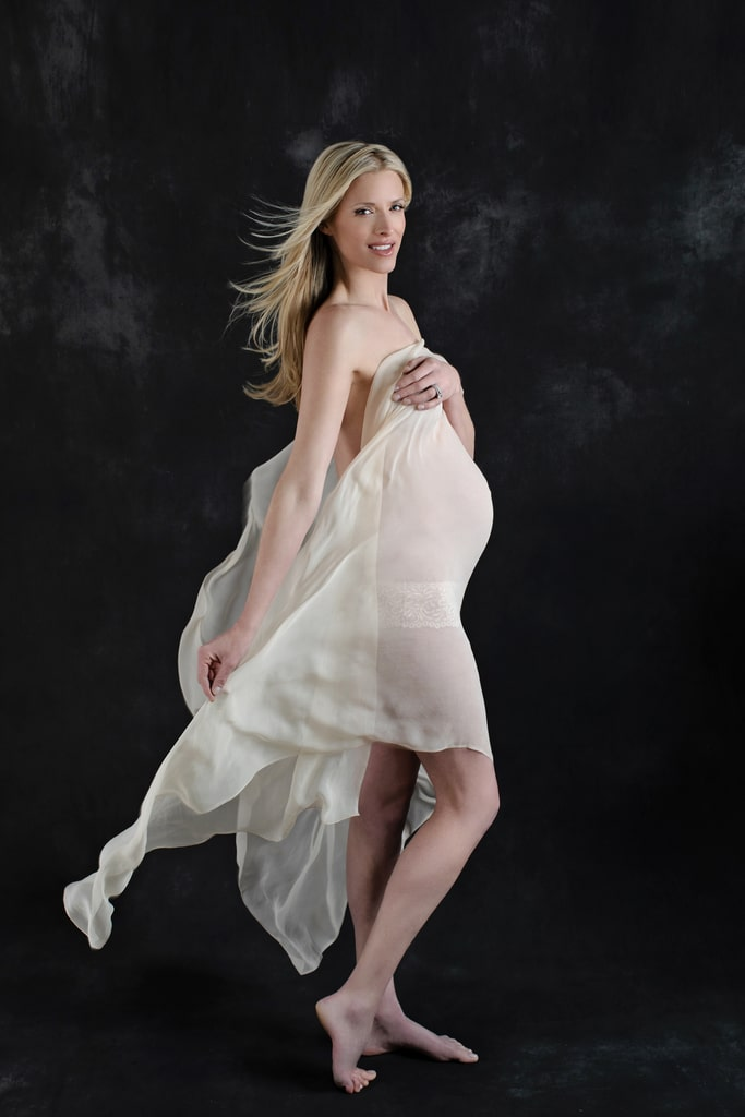 semi-nude maternity session in private dallas studio