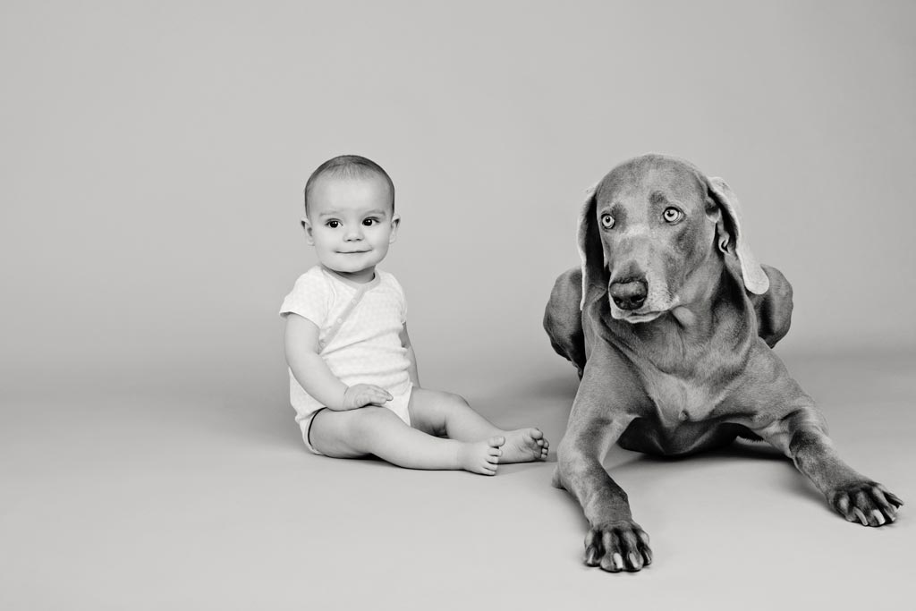cute baby and dog pose for adorable black and white studio photos