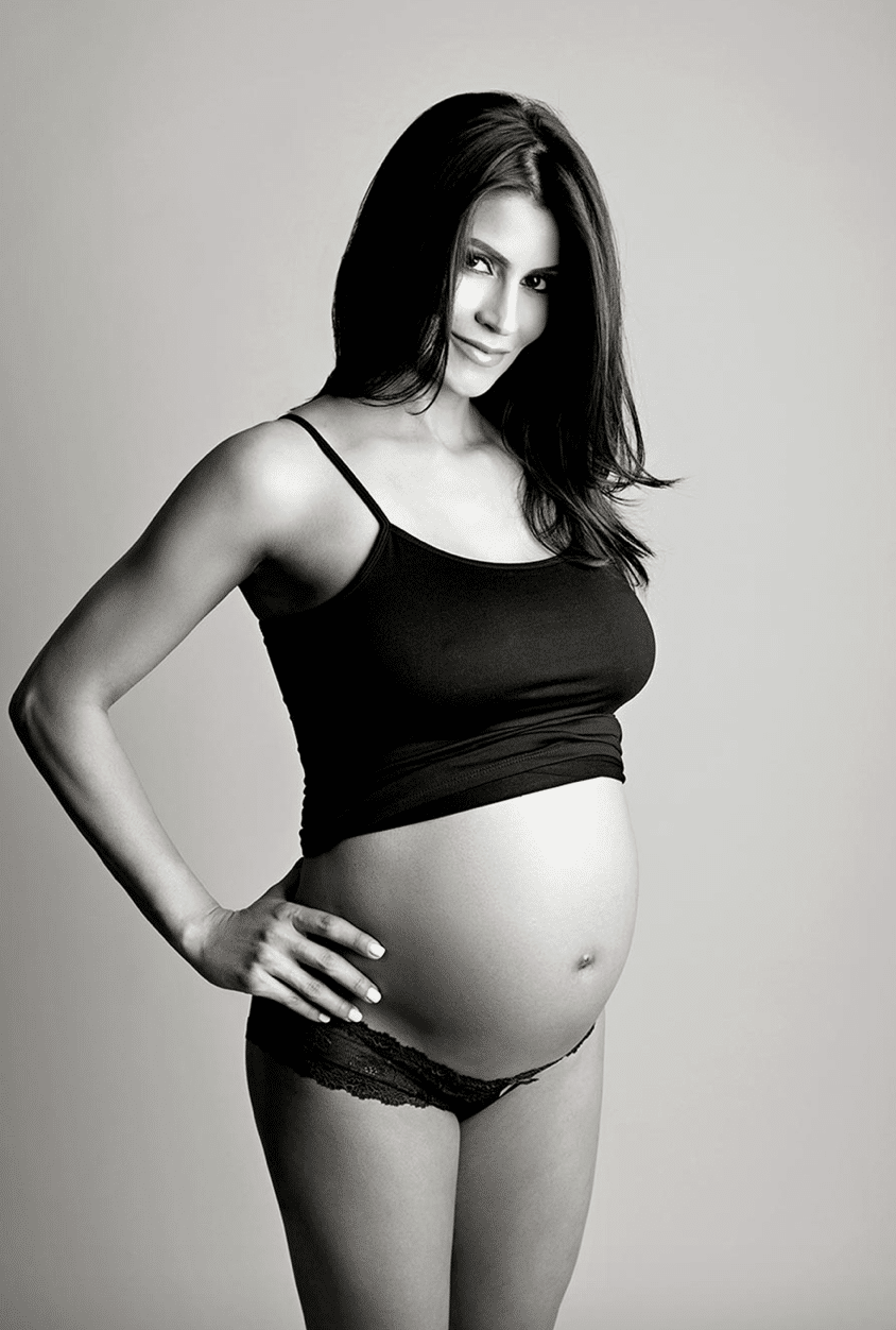 sporty studio maternity session