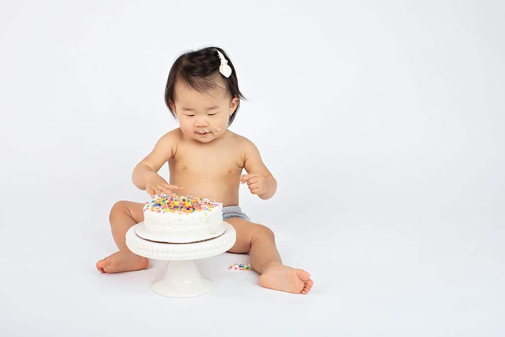 first birthday cake smash in private studio