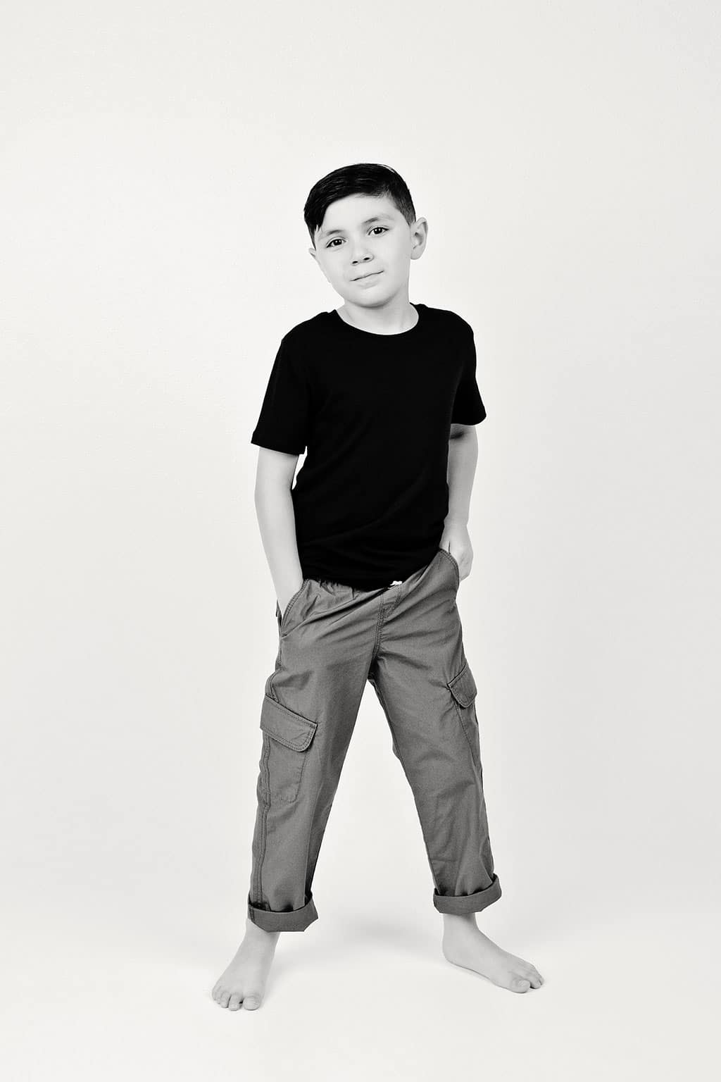 little brother strikes a pose in private studio session