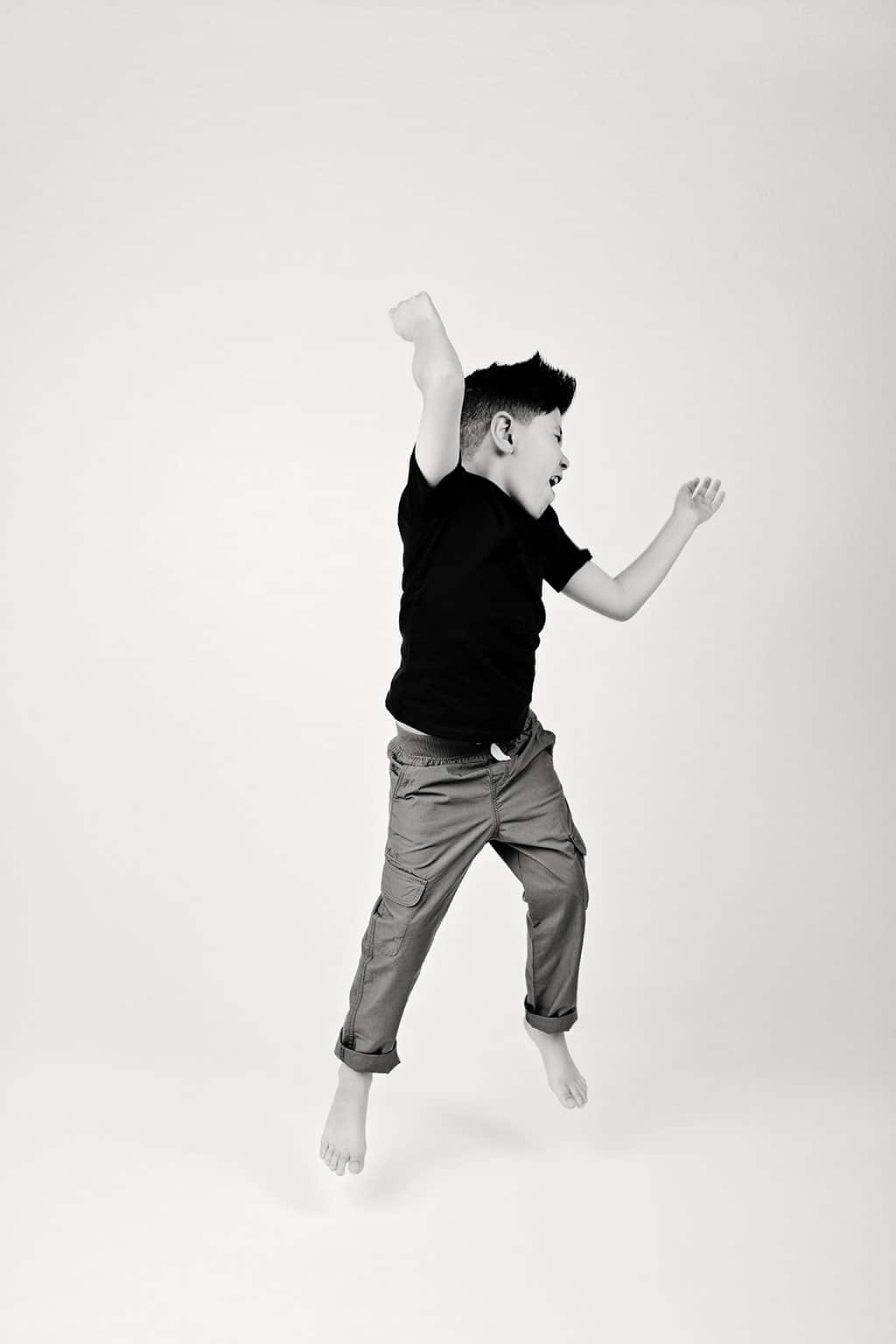 brother has a blast dancing and jumping in studio session