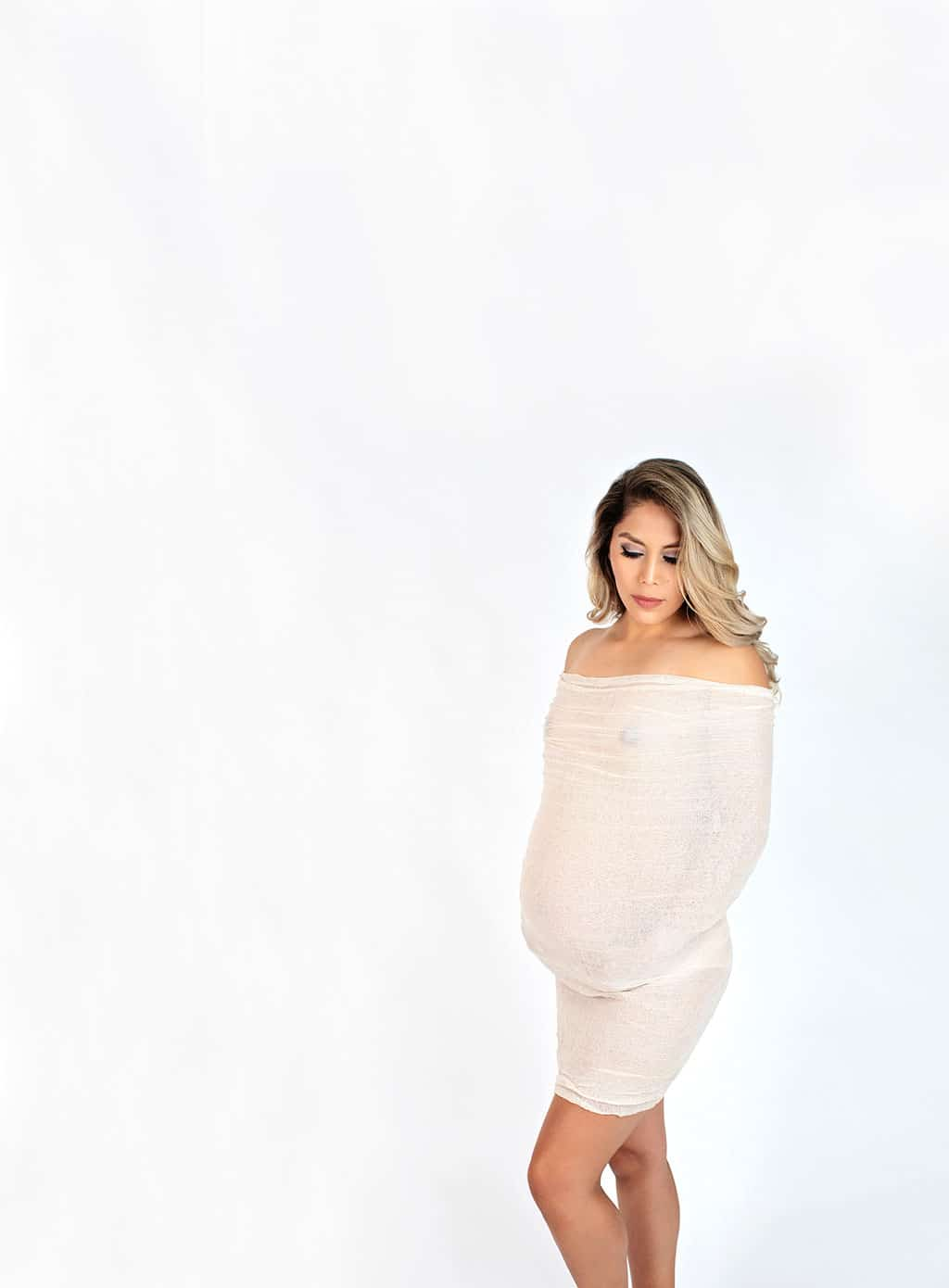 semi-nude maternity session