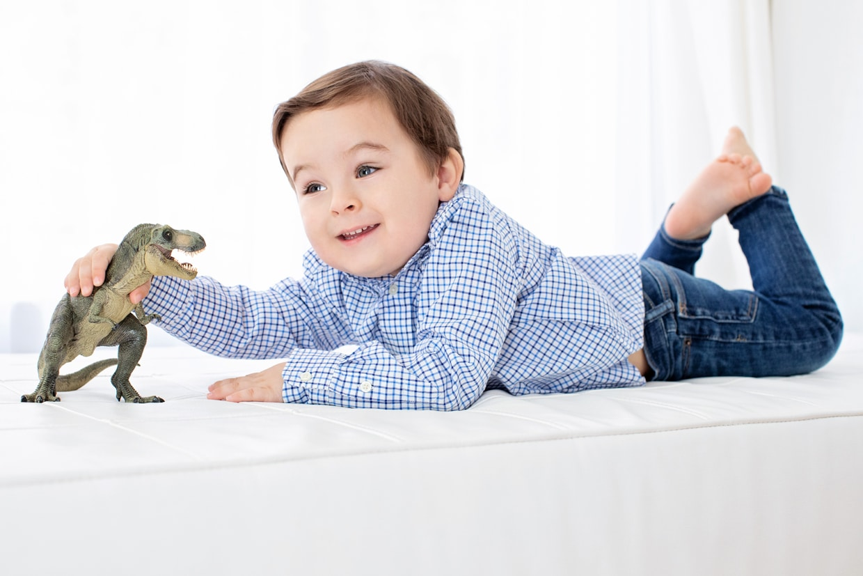 Kiddo playing with dinosaurs in private studio session