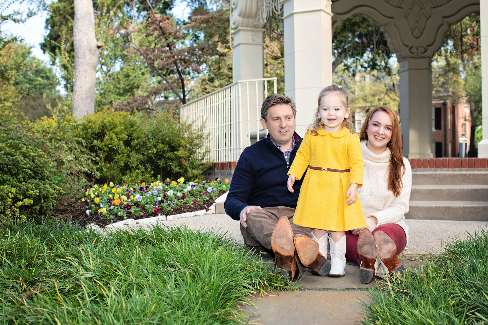 Adorable family posing outside in dallas