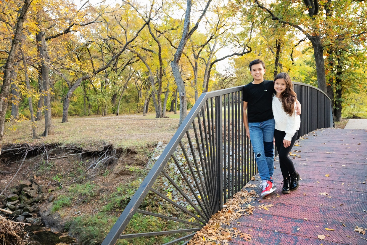 kiddos posing for session during fall in dallas