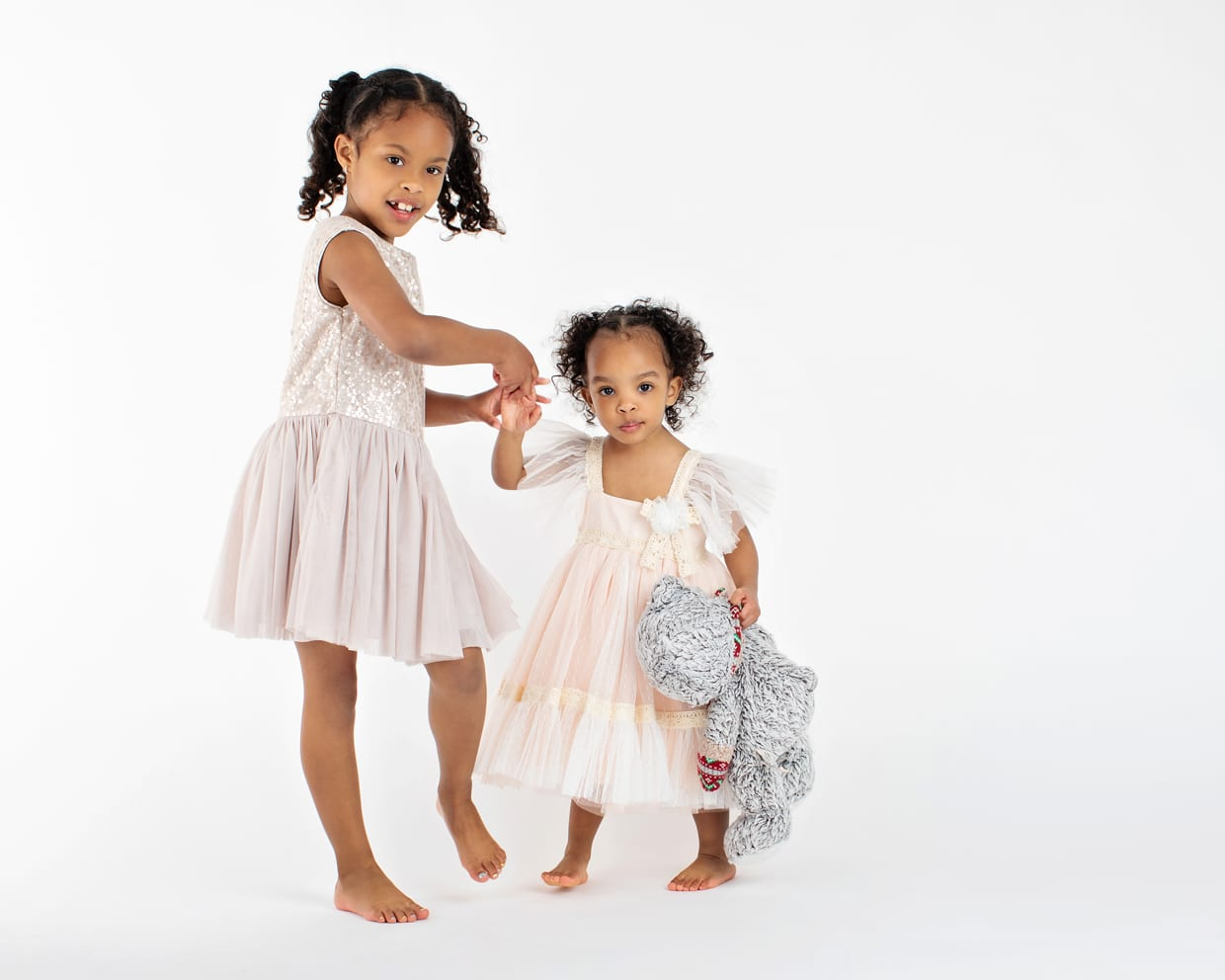 cute sisters in studio session
